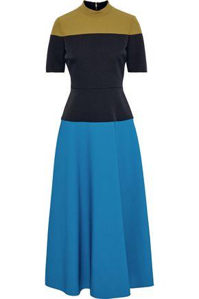 ROKSANDA فستان متوسط الطول من قماش كادي متباين الألوان