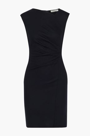 HALSTON Gathered wool-felt mini dress
