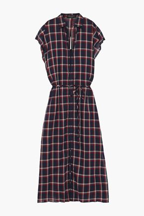 RAG & BONE Sybil cutout checked cotton-gauze midi dress