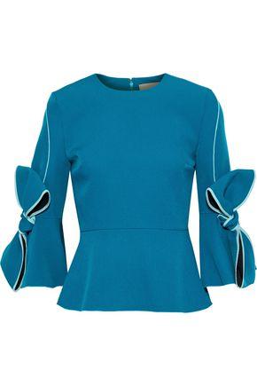 ROKSANDA Kemi bow-embellished stretch-crepe peplum top