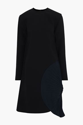 VICTORIA BECKHAM Pleated paneled crepe de chine and stretch-cady dress