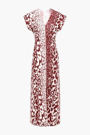 VICTORIA BECKHAM فستان متوسط الطول من قماش كادي المرن مع نقوش الفهد