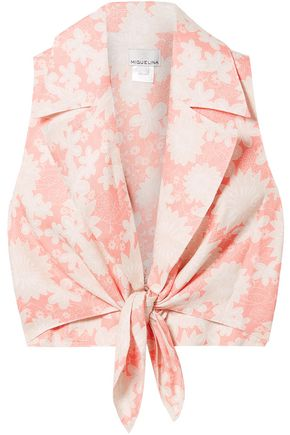 MIGUELINA Jill tie-front floral-print linen top