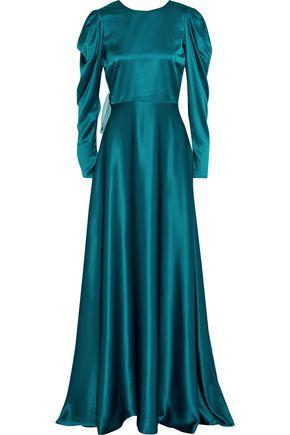 """ROKSANDA فستان سهرة """"تالا"""" من الساتان الحريري بلونين مزين بعقدة فراشية"""