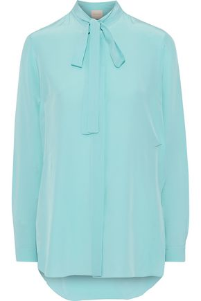 ROKSANDA Asymmetric pussy-bow crepe de chine blouse
