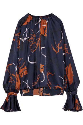 ROKSANDA Ruffle-trimmed printed silk-satin blouse