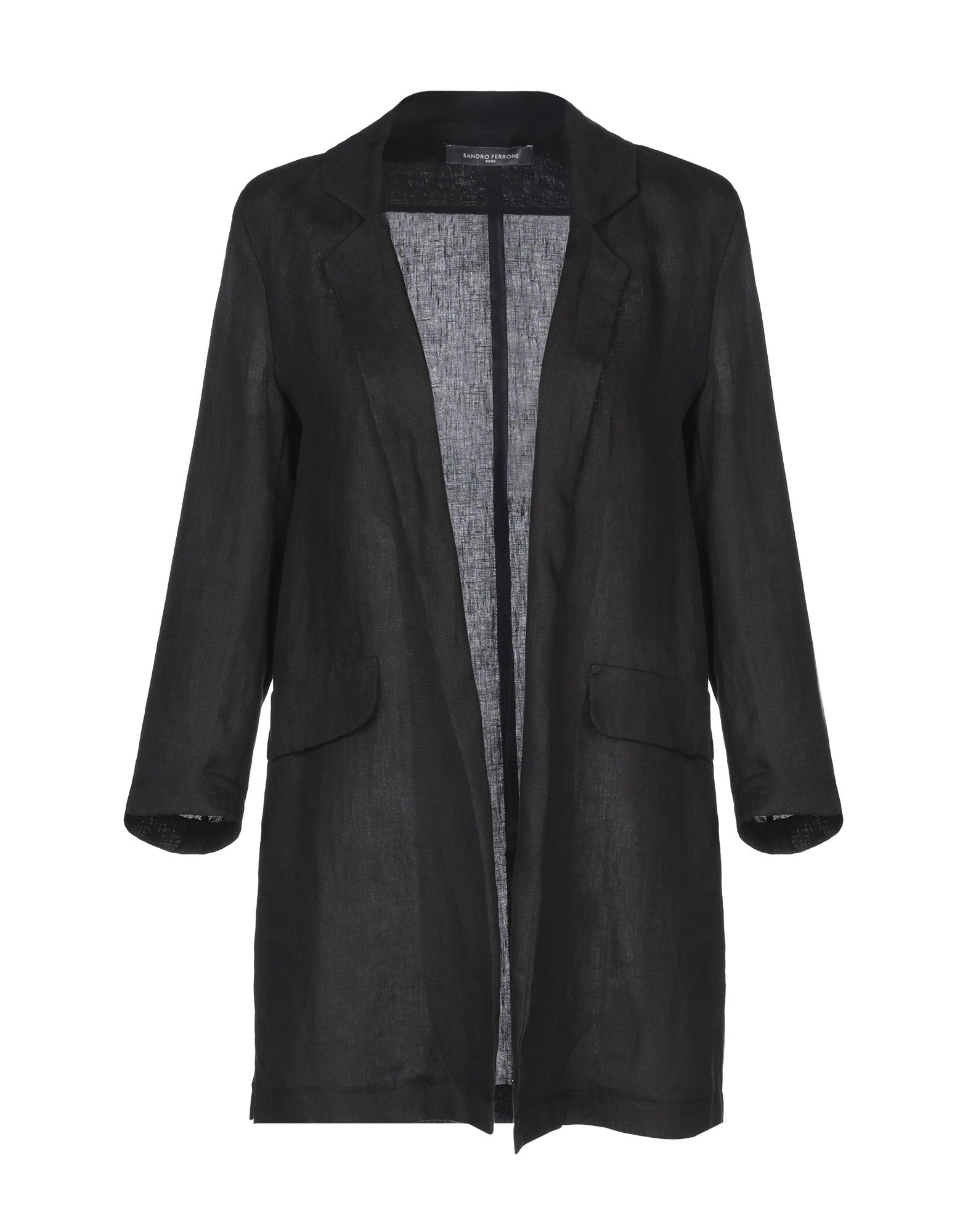 《セール開催中》SANDRO FERRONE レディース テーラードジャケット ブラック 42 リネン 100%
