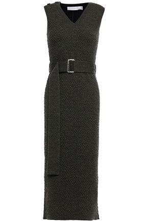 VICTORIA BECKHAM Belted embossed wool midi dress