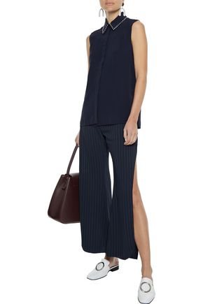 Victoria Victoria Beckham Crystal-embellished Crepe De Chine Shirt In Midnight Blue