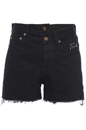 SAINT LAURENT Asymmetric frayed denim shorts