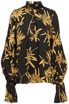 HOUSE OF DAGMAR Pleated floral-print satin blouse