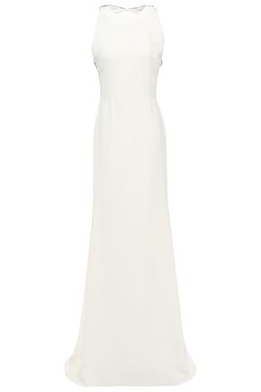 VICTORIA BECKHAM Embellished cutout stretch-crepe gown