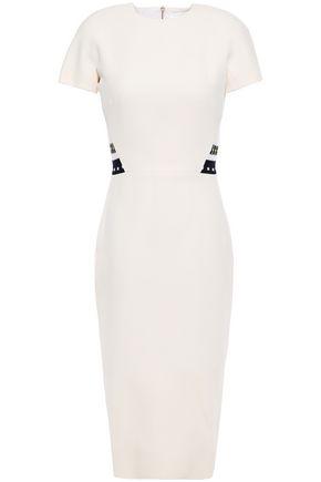 VICTORIA BECKHAM فستان من مزيج الصوف والحرير المخطط