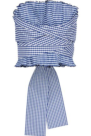 ADEAM Strapless tie-back pleated gingham shell top
