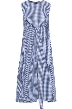 ADEAM Tie-front gingham shell dress