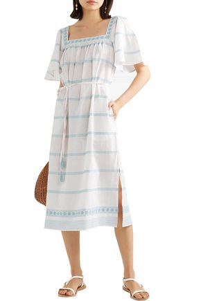 Tory Burch Belted Embroidered Linen And Cotton-blend Gauze Midi Dress In Ivory