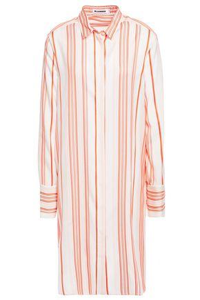 JIL SANDER فستان على شكل قميص من الحرير المخطط