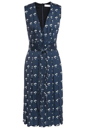 VICTORIA BECKHAM Belted pleated floral-print satin-crepe dress