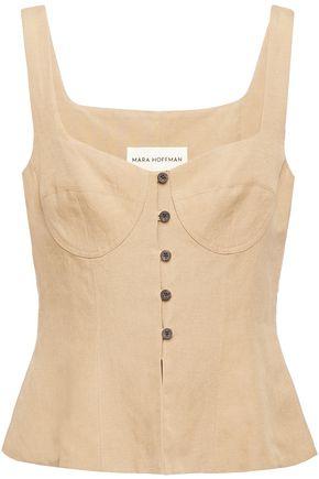MARA HOFFMAN Tencel and linen-blend top
