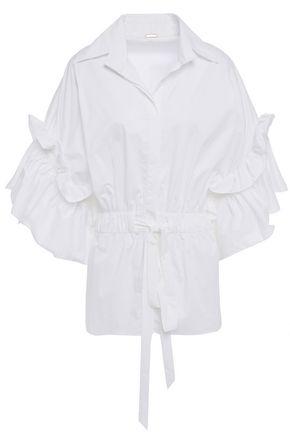 """JOHANNA ORTIZ قميص """"ماركو بولو"""" من قماش البوبلين المصنوع من مزيج القطن مزين بالكشكش"""