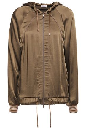 BRUNELLO CUCINELLI Bead-embellished satin hooded jacket