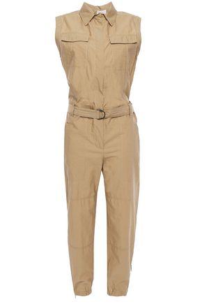 BRUNELLO CUCINELLI クロップド ベルト付き しわ加工コットン混 ジャンプスーツ