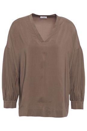 BRUNELLO CUCINELLI Bead-embellished stretch-silk blouse