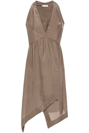 BRUNELLO CUCINELLI Wrap-effect gathered bead-embellished silk-habotai mini dress