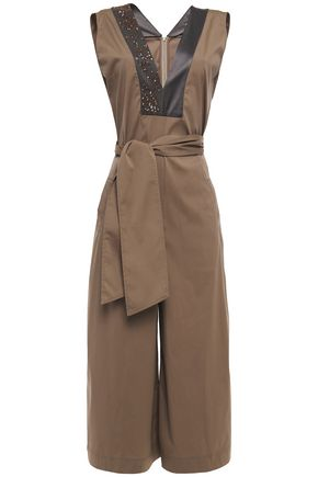 BRUNELLO CUCINELLI Bead-embellished satin-trimmed cotton-blend poplin jumpsuit