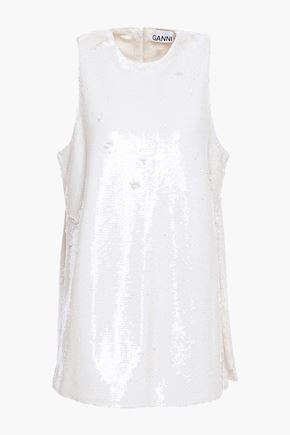GANNI Sequined jersey top