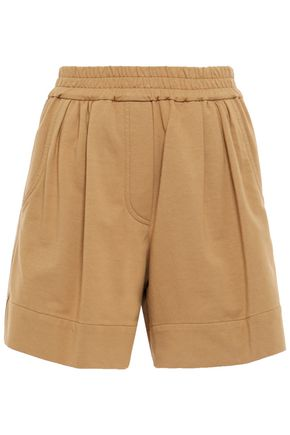 BRUNELLO CUCINELLI Pleated bead-embellished French cotton-blend terry shorts