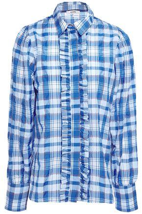 GANNI Charron ruffle-trimmed checked cotton-blend seersucker shirt