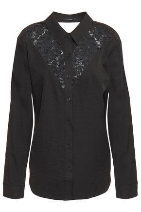 J BRAND Cutout corded lace-paneled twill shirt