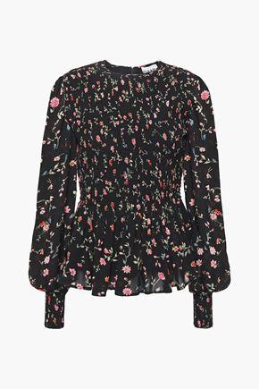 GANNI Elm shirred printed georgette peplum blouse