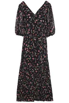 GANNI Floral-print crepe midi dress