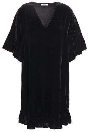 GANNI Aldine ruffled velvet mini dress