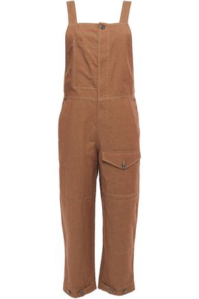 BRUNELLO CUCINELLI Cropped cotton and linen-blend overalls