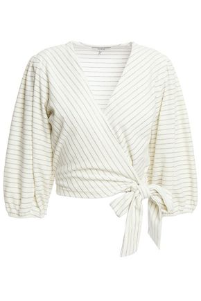GANNI Metallic striped cotton-blend velvet wrap top