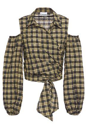 GANNI Cold-shoulder cotton-blend seersucker wrap top