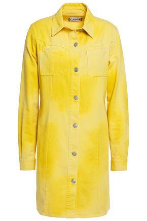 GANNI فستان قصير على شكل قميص من الدنيم مصبوغ بنقشة تاي داي