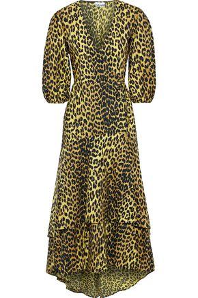 GANNI Ruffled leopard-print cotton-poplin wrap midi dress