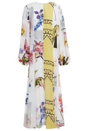 GANNI فستان طويل من قماش كريب دي شين المطبع برسومات