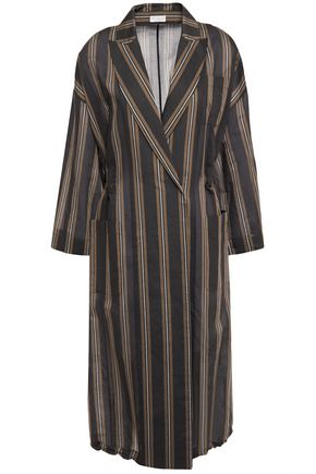 BRUNELLO CUCINELLI Bead-embellished striped cotton and silk-blend wrap dress
