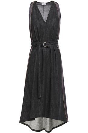 BRUNELLO CUCINELLI Asymmetric satin-trimmed denim dress