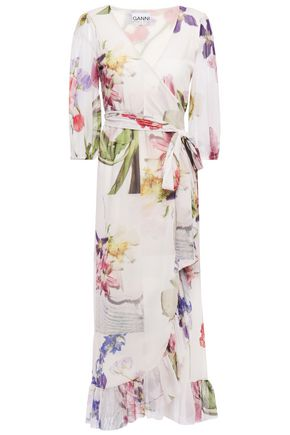 GANNI Ruffled floral-print stretch-mesh midi wrap dress