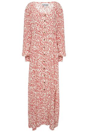 GANNI Floral-print crepe maxi dress