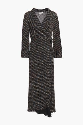 GANNI Mullin asymmetric printed georgette midi wrap dress