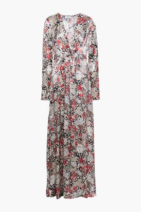GANNI Twist-front floral-print satin maxi dress