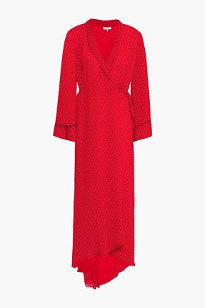 "GANNI فستان ملتف متوسط الطول ""مولين"" غير متماثل من قماش جورجيت المطبع برسومات"