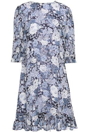"""GANNI فستان قصير """"إيلم"""" من قماش جورجيت المطبع برسومات مزين بالكشكش"""